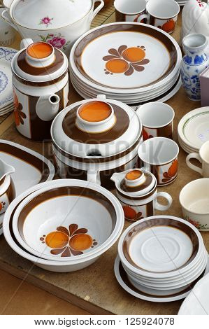 Porcelain tableware retro kitchen equipment still life.