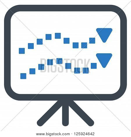 Trends Presentation vector toolbar icon. Style is bicolor flat icon symbol, smooth blue colors, white background, square dots.