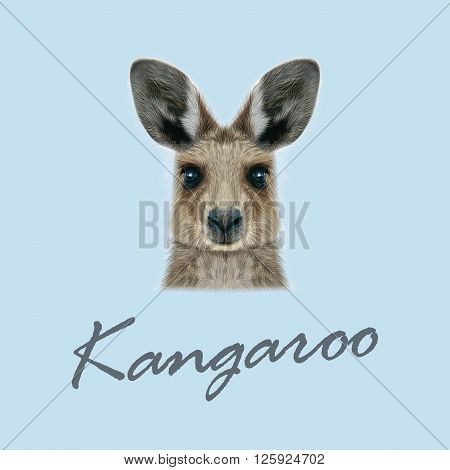 Cute head of wild Australian mammal on blue background.