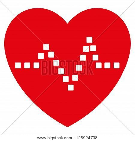 Heart Pulse vector toolbar icon. Style is flat icon symbol, intensive red color, white background, square dots.