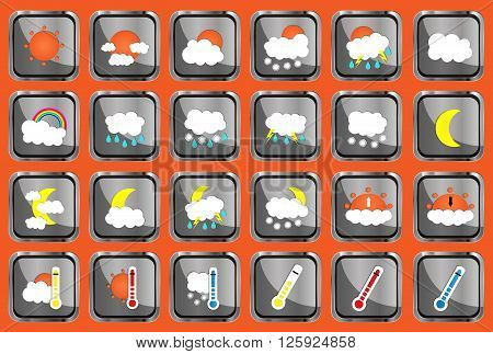 Set Of 24 Vector Weather Realistic Metallic Chrome Flat Square Icons On Orange Background. Vector Il