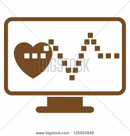 Cardio Monitoring vector toolbar icon. Style is flat icon symbol, brown color, white background, square dots.