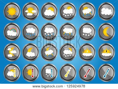 Set Of 24 Vector Weather Realistic Metallic Chrome Flat Round Icons On Sky Background. Vector Illust