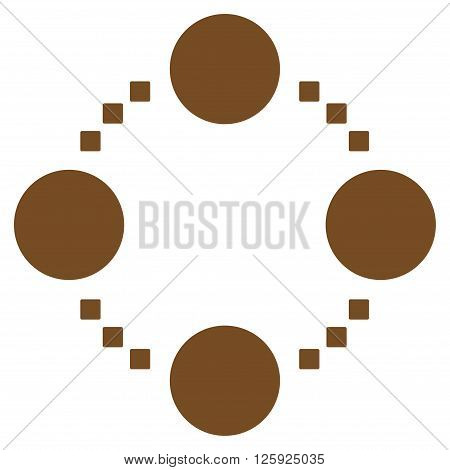 Circular Relations vector toolbar icon. Style is flat icon symbol, brown color, white background, square dots.