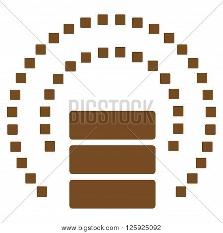 Database Sphere Shield vector toolbar icon. Style is flat icon symbol, brown color, white background, square dots.