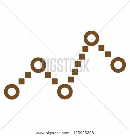Dotted Line vector toolbar icon. Style is flat icon symbol, brown color, white background, square dots.