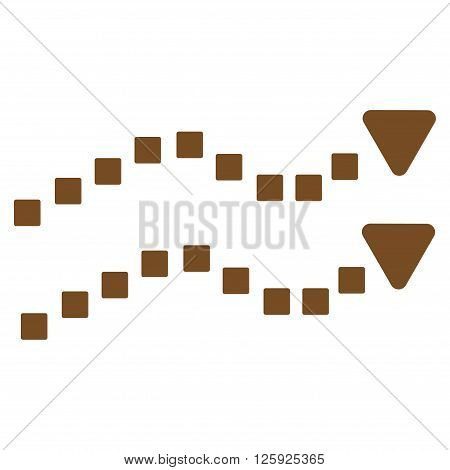 Dotted Trend Lines vector toolbar icon. Style is flat icon symbol, brown color, white background, square dots.