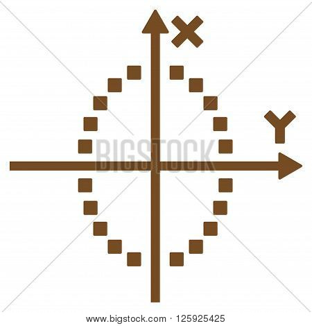 Ellipse Plot vector toolbar icon. Style is flat icon symbol, brown color, white background, square dots.