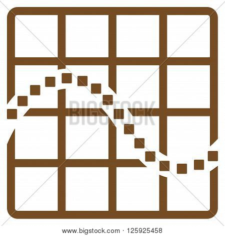 Function Chart vector toolbar icon. Style is flat icon symbol, brown color, white background, square dots.