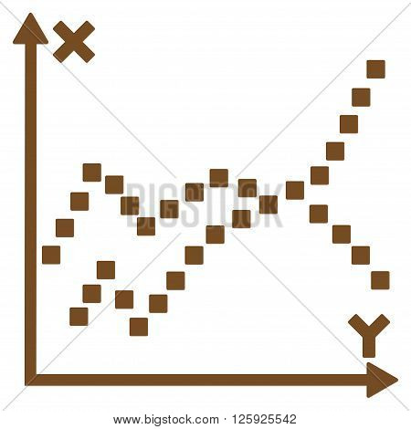 Functions Plot vector toolbar icon. Style is flat icon symbol, brown color, white background, square dots.