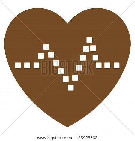 Heart Pulse vector toolbar icon. Style is flat icon symbol, brown color, white background, square dots.