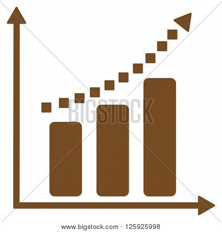Positive Trend vector toolbar icon. Style is flat icon symbol, brown color, white background, square dots.