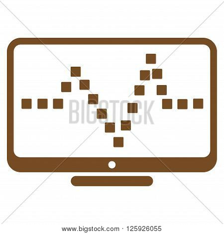 Pulse Monitoring vector toolbar icon. Style is flat icon symbol, brown color, white background, square dots.