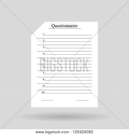 White sheet of paper with the word questionnaire