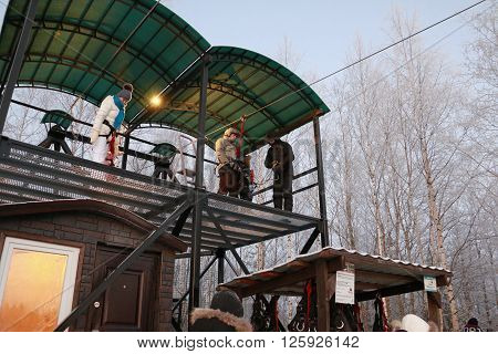 Karelia Russia - January 09 2016: Zipline in park Ruskeala at 09 of January in 2016 in Karelia