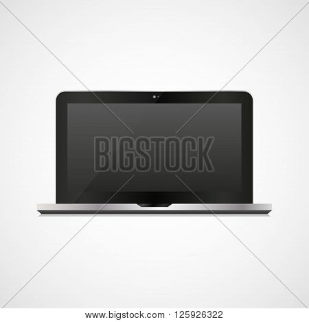 Black Laptop In A Realistic Style On A White Background
