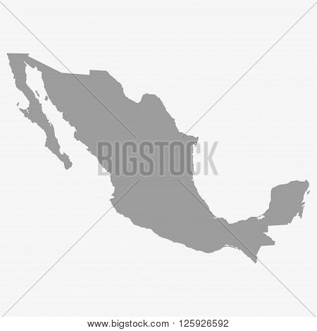 Map Of Mexico In Gray On A White Background