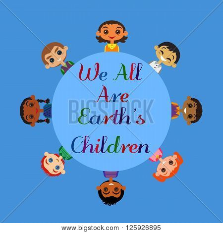Motivated illustration of nations friendship United Children. Concept of Earth unity all nationalities. Kids of different nations friendship. Different nations are united friends. vector illustration.