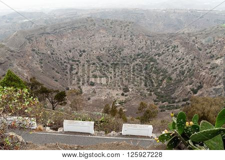 A panoramic vie of the Bandama's crater in Gran Canaria