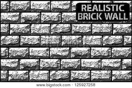 Vector Realistic Texture Of Grey Contrast Brick Wall. Vector Illustration