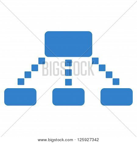 Hierarchy Scheme vector toolbar icon. Style is flat icon symbol, cobalt color, white background, square dots.