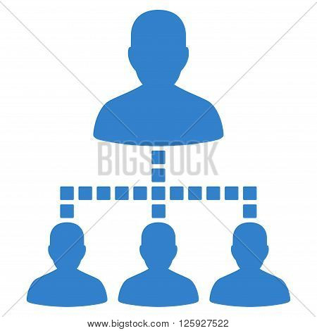 People Hierarchy vector toolbar icon. Style is flat icon symbol, cobalt color, white background, square dots.