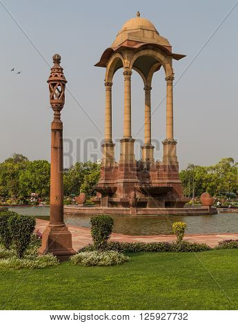 DELHI INDIA - 19TH MARCH 2016: The Canopy located near India Gate in Delhi during the day.