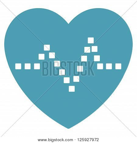 Heart Pulse vector toolbar icon. Style is flat icon symbol, cyan color, white background, square dots.