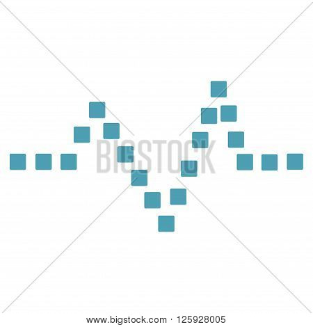 Pulse Chart vector toolbar icon. Style is flat icon symbol, cyan color, white background, square dots.