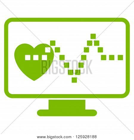 Cardio Monitoring vector toolbar icon. Style is flat icon symbol, eco green color, white background, square dots.
