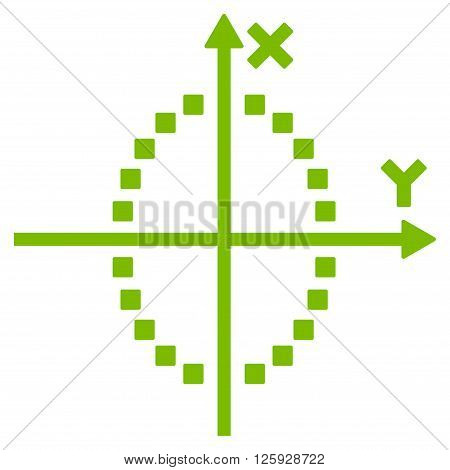 Ellipse Plot vector toolbar icon. Style is flat icon symbol, eco green color, white background, square dots.