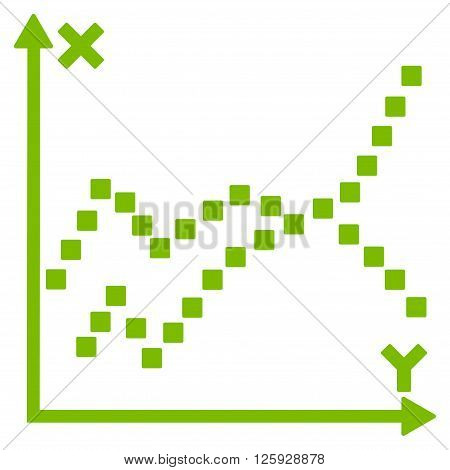 Functions Plot vector toolbar icon. Style is flat icon symbol, eco green color, white background, square dots.