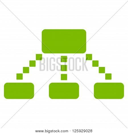 Hierarchy Scheme vector toolbar icon. Style is flat icon symbol, eco green color, white background, square dots.