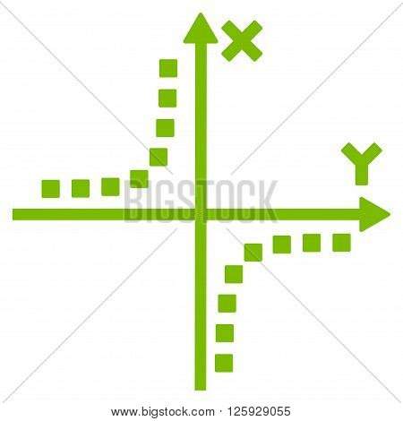 Hyperbola Plot vector toolbar icon. Style is flat icon symbol, eco green color, white background, square dots.
