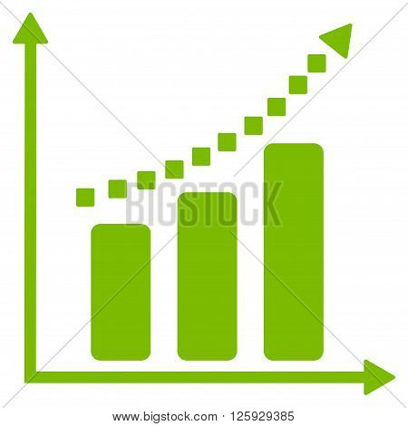 Positive Trend vector toolbar icon. Style is flat icon symbol, eco green color, white background, square dots.