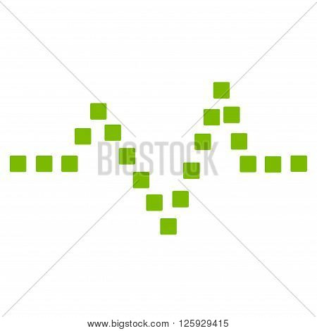 Pulse Chart vector toolbar icon. Style is flat icon symbol, eco green color, white background, square dots.