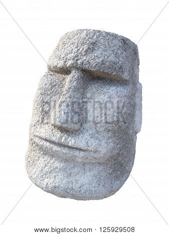 Closed up Stone Moai face isolated on white background