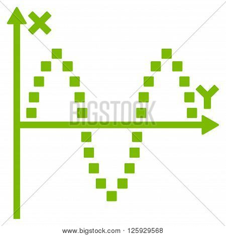 Sinusoid Plot vector toolbar icon. Style is flat icon symbol, eco green color, white background, square dots.