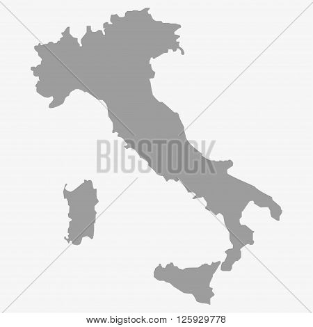 Map of the Italy in gray on a white background