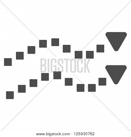 Dotted Trend Lines vector toolbar icon. Style is flat icon symbol, gray color, white background, square dots.