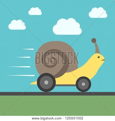 Fast speedy snail with automobile wheels moving quickly. Success haste speed efficiency performance and creativity concept. EPS 8 vector illustration no transparency
