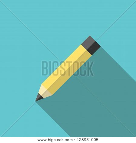 Yellow graphite pencil on turquoise blue background with long shadow. Education creativity and office concept. EPS 8 vector illustration no transparency