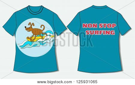 Flat identity mock-up template of T-shirt in nautical style Non stop surfing. Idea for design of nautical t-shirt line print for surfing club surfing courses. Vector Illustration.
