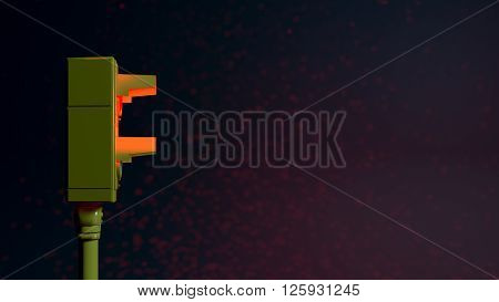 3D illustration of a red light and black background