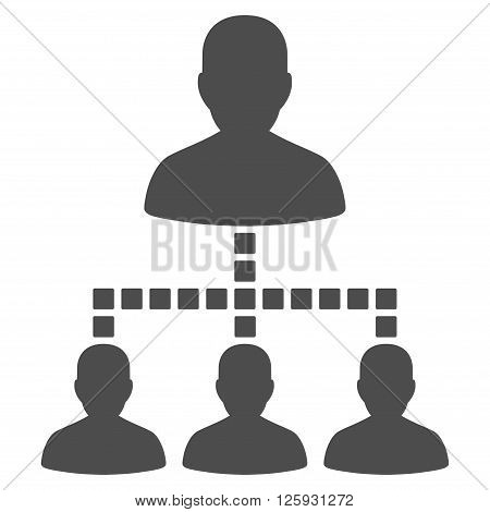 People Hierarchy vector toolbar icon. Style is flat icon symbol, gray color, white background, square dots.