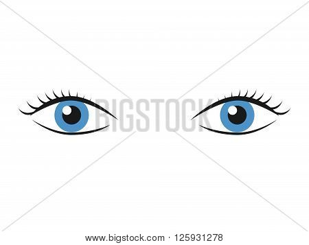 Pair of blue eyes with eyelashes isolated on white. Vision look sight watching supervision and observation concept. EPS 8 vector illustration no transparency