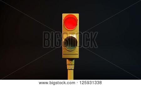 3D illustration of a red light with black background