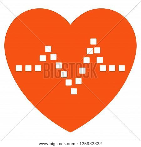 Heart Pulse vector toolbar icon. Style is flat icon symbol, orange color, white background, square dots.