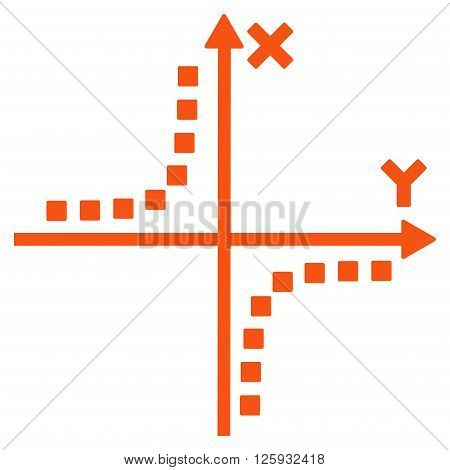 Hyperbola Plot vector toolbar icon. Style is flat icon symbol, orange color, white background, square dots.