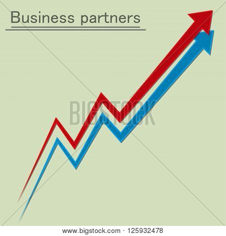 Two winding direction. Business partners. Vector illustration
